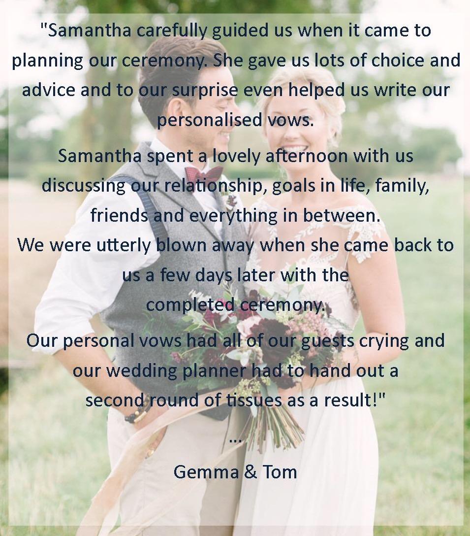 Gemma & Tom Testimonial Katrina Otter Wededing Planner