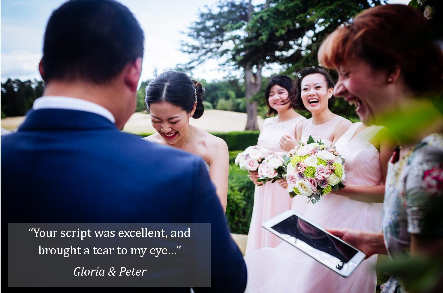 gloria and Peter Hedsor House wedding celebrant testimonial Liam Colliard Photography