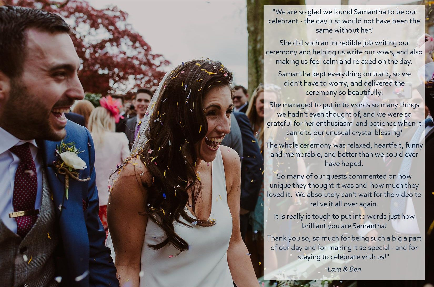 Lara and Ben Huntsham Court picture testimonial samantha kelsie