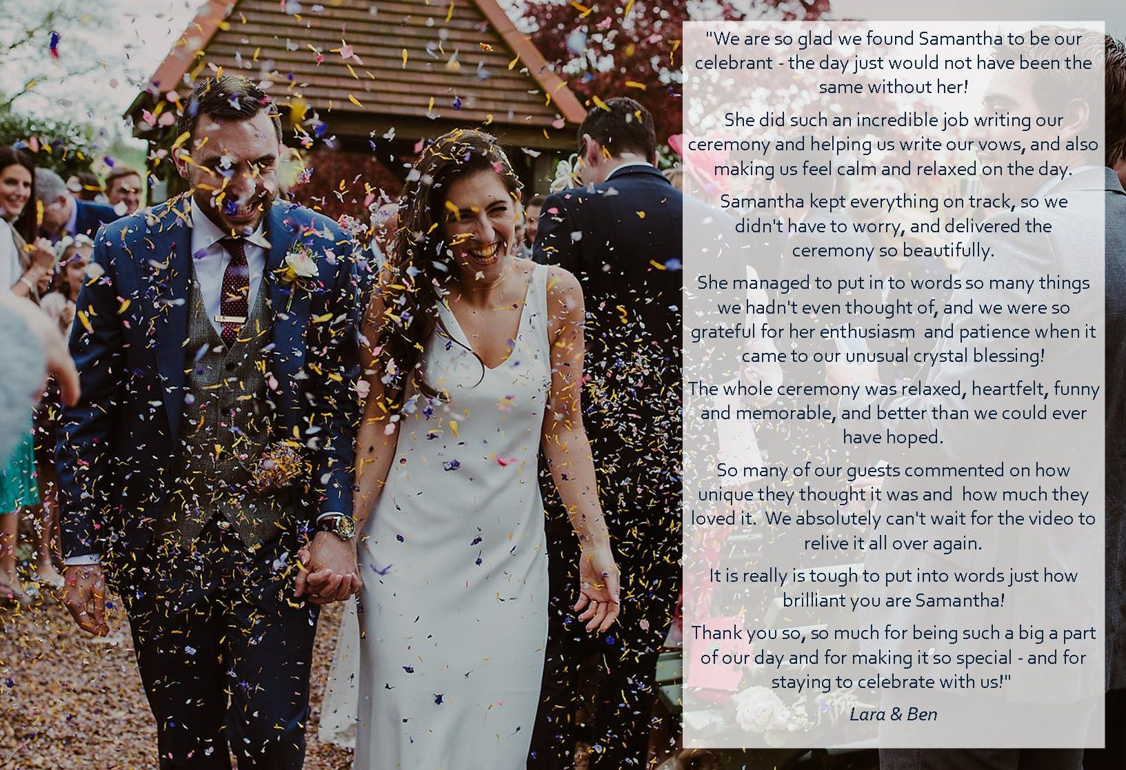 Lara and Ben testimonial wedding celebrant samantha kelsie huntsham court wedding