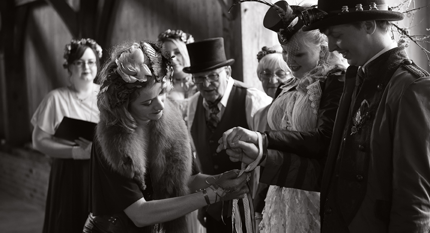 Steampunk Wedding ceremony celebrant handfasting Wilobe Farm Cambridgeshire