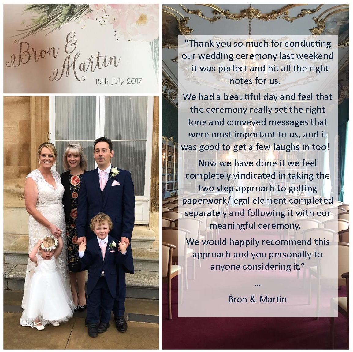 Martin and Bron wedding testimonial celebrant ceremony at Wrest Park