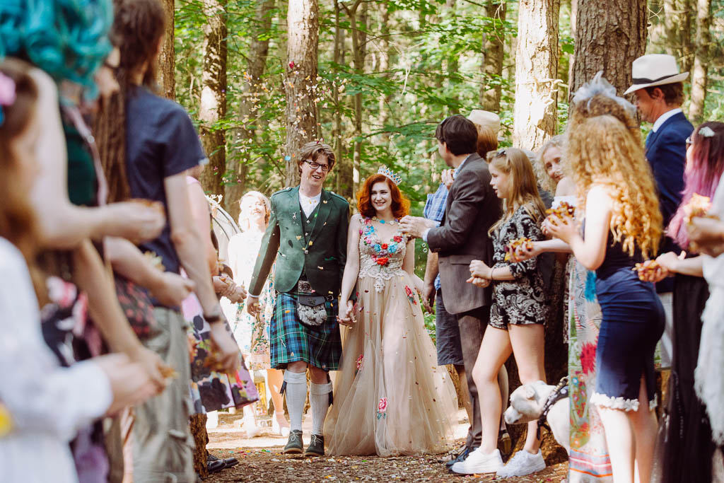Woodland wedding and out door celebrant ceremony at Glamping Venue Camp Katur in Yorkshire