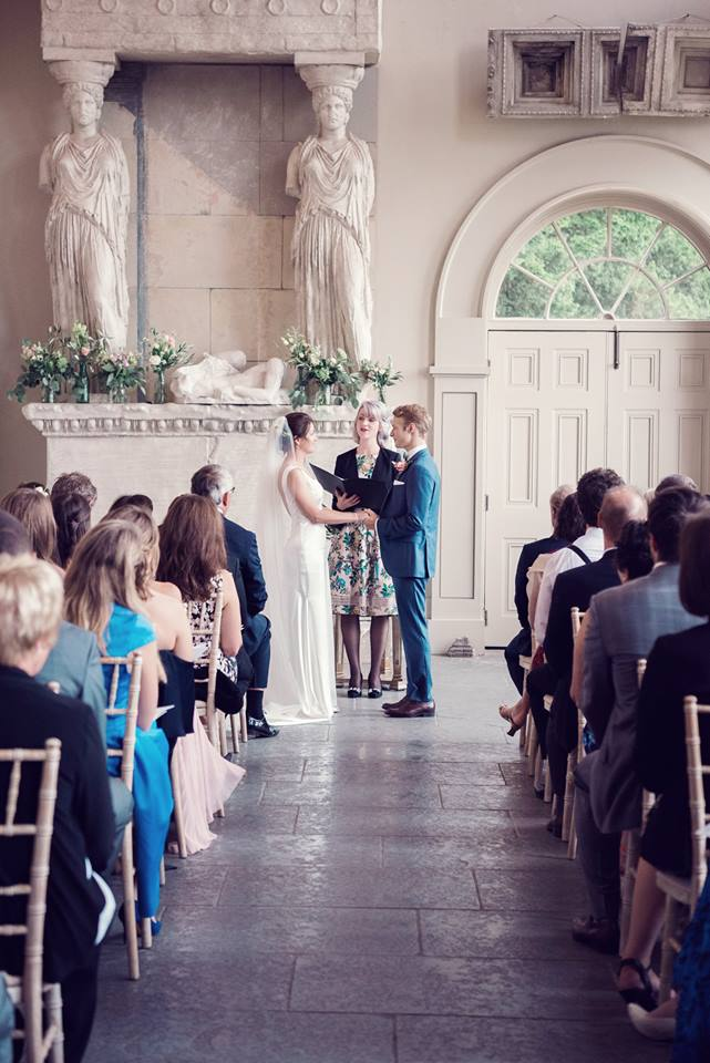 Celebrant for Wedding Ceremony at Aynhoe House - quirky wedding venue - Jessica Raphael Photography